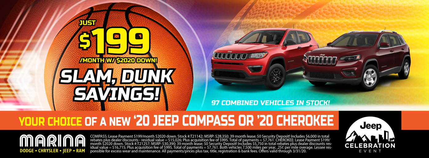 YOUR CHOICE OF A NEW 2020 JEEP COMPASS OR 2020 CHEROKEE